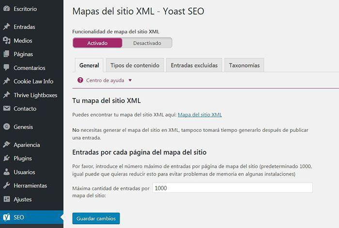 sitemap en wordpress yoast seo