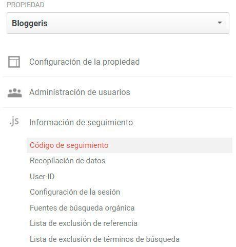 Código de seguimiento google analytics