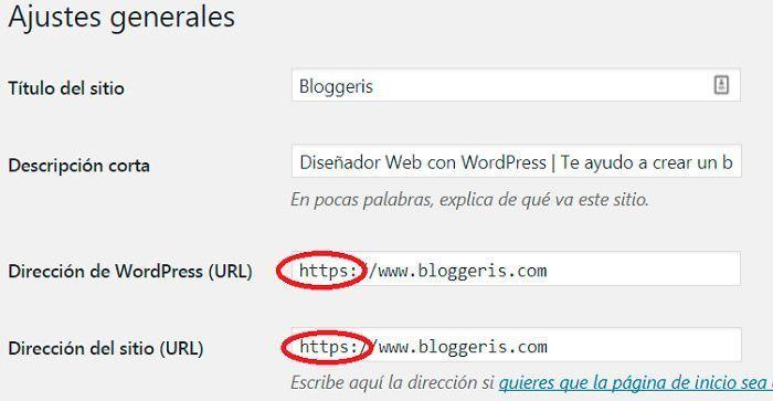 Pasar a https ajustes generales WordPress