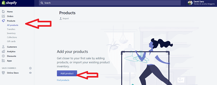 add product shopify añadir producto