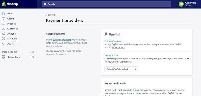 configurar pagos en shopify