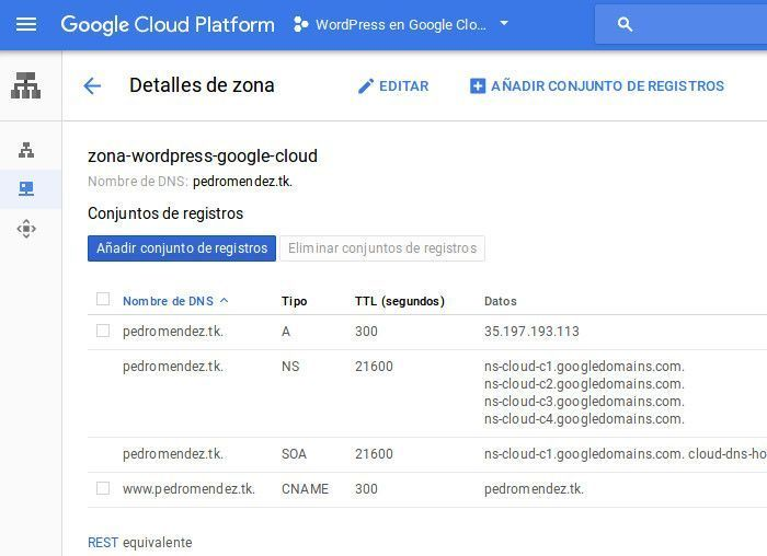 nombre dns google cloud platform