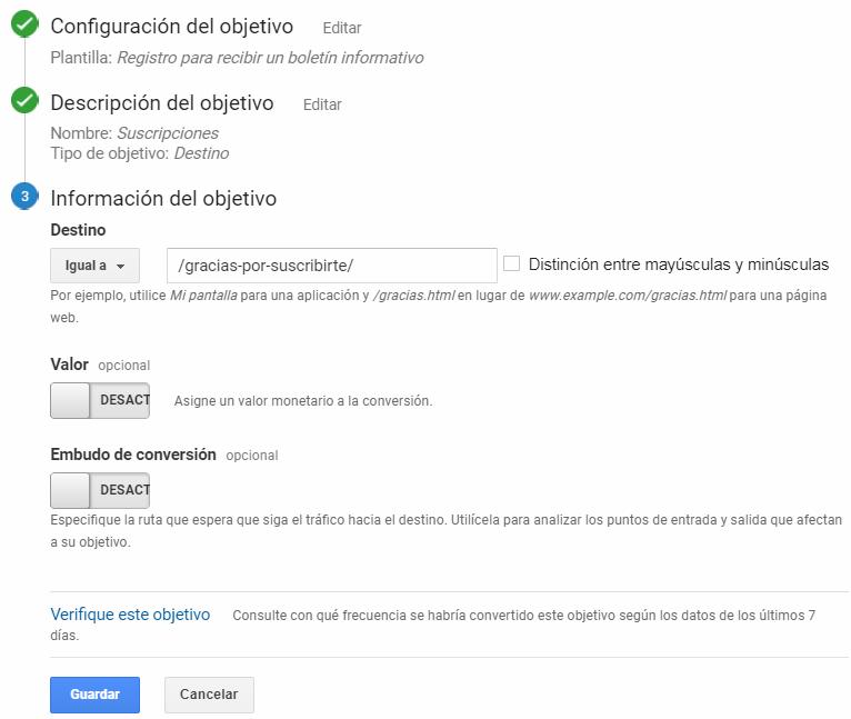 información de objetivo google analytics